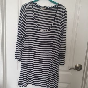 Soft Surroundings Blue & White Striped Top